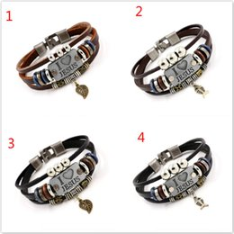Wholesale Jesus Cross Bracelet - I LOVE JESUS Charm Bracelets Vintage Fish Leaf Pendant Christian Multilayer leather bracelets for men women bangle