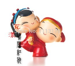 Wholesale Dolls Married - Wholesale- cheap Resin Chinese doll decoration cake topper married couple wedding cake toppers traditional gift room decorations figurines