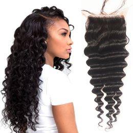 Wholesale Deep Wave Top Base Closure - Indian Virgin Hair Deep Wave Silk Base Top Closure Hidden Knots Free Middle 3 Part Natural Black Color 8-20 inch