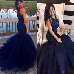 Wholesale Hot Girl Water - 2017 Hot Sale Royal Blue Black African Prom Dress With Puffy Mermaid Skirt Girls Formal Pageant Evening Party Gown Custom Made Plus Size