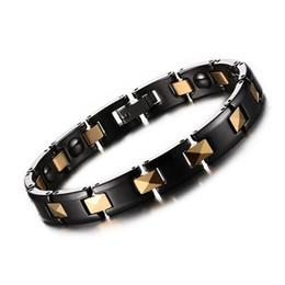 Wholesale Mens Hematite Bracelets - Ceramic Inlaid Magnet Hematite Men Bracelets Magnetic Bangles Stainless Steel Charm Jewelry Best Mens Gifts WristBand Ceramic Bracelet B843S