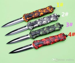 Wholesale Skull Tactical - Butterfly Benchmade BM A020 A 020 20 skull 4 colors DUAL ACTION Hunting Folding Pocket Knife Survival Knife Xmas gift for men 1pcs