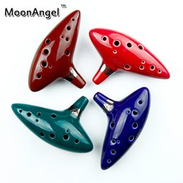 Wholesale Music Choices - Wholesale- New Arrival 4 Colors for Choice Porcelain Ocarina 12 Holes Wind Musical Instrument for Music Amateurs and Beginners