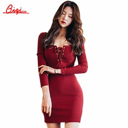 Wholesale Korean Dress Club - Wholesale- Qiqi Korean Designer Casual Style 2016 Autumn Slim Sexy Halter Female Dresses Long Sleeve Round Neck Mini Dress