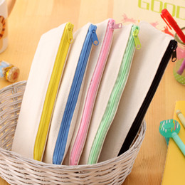 Wholesale Wholesale Canvas Pencil Cases - Hot selling 20.5*8.5cm DIY White Canvas Blank Plain Zipper Pencil Pen Bags Stationery Cases Clutch Organizer Bag Gift Storage Pouch