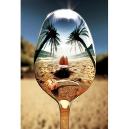Wholesale Wine Glass Wall Art - Beach Red Wine Glass DIY Diamond Painting Embroidery 5D Cross Stitch Crystal Square Unfinish Home Bedroom Wall Art Decor Craft Gift