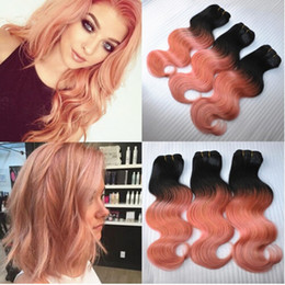 Wholesale 18 Inch Pink Hair Extensions - 3 Bundles Rose Gold Ombre Hair Extensions Two Tone Color 1B Pink Ombre Body Wave Wavy Brazilian Unprocessed Virgin Human Hair Weaving Wefts