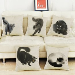 Wholesale Green Black Throw Cushions - Ink painting style of the black and white cat Cushion Cover Cotton Linen Pillow case Home Car Sofa Decorative Throw Pillows
