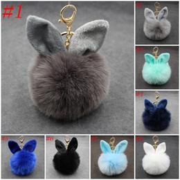 Wholesale Black White Keyrings - 3.94 Inch Rabbit Ears Fur Ball Bag Charms Keyring Pom Pom Fluffy Fur Ball Keychain for Car Keyring Charm Gift C99Q