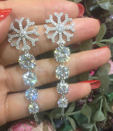 Wholesale Earring Snowflake Silver - Earring stud S925 sterling silver pin snowflake earring Fashion jewellery new style rhodium plated white cz stone luxury free shipping