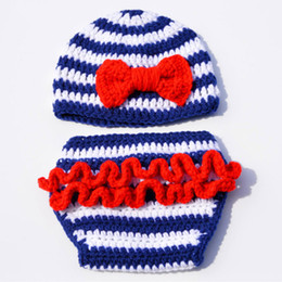 Wholesale Baby Sailor Hats - Novelty Blue White Striped Sailor Newborn Costume,Handmade Crochet Baby Girl Sailor Beanie Hat Diaper Cover Set,Infant Toddler Photo Prop