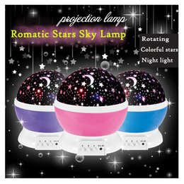 Wholesale Colorful Dream Lamp - Wholesale- Hot Dual-use USB Light Rotating Dream Projection Lamp Colorful Star Sky Light Romantic Stars Christmas Gift Lamp
