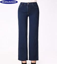 Wholesale Wide Leg Trousers Large - Wholesale- Sean&Susan Wide Leg Pants High Waist Jeans Women Winter Slim Denim Casual Large Trousers Pant Comfortable Flares Pants Plus Size