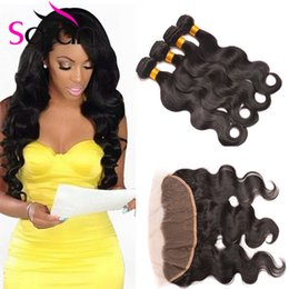 Wholesale Full Hair Weaves - Queens Brazilian Body Wave With Closure 13x4 Full Ear To Ear Lace Frontal Closure With Bundles Brazilian Hair Weave Bundles With Closure