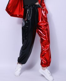 Wholesale Kids Hip Hop Dance Pants - 2017 Kids Adult Spring spliced jazz Loose unisex joggers Pant Costumes harem thin Red Black Shiny patchwork Hip Hop Dance Pants