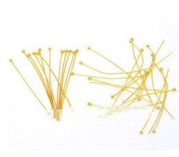 Wholesale Ball Pin Gold - Free Shipping 1000pcs Gold Plated Ball Head Pins 30x0.7mm Jewelry Making Findings Wholesale