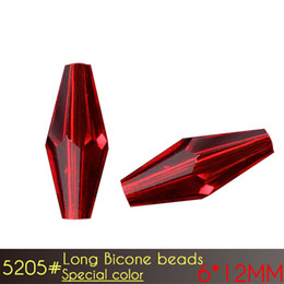 Wholesale Pink Bicone Crystal Beads - 6x12mm Elongated Bicone Beads Special color Series Glass Loose Long Beads A5205 50pcs set DIY Jewelry Faceted Glass Crystal Beads Spacer