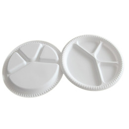 Wholesale Parts Trays - 28Cm Diameter 4 Parts Disposable Plate Ecofriendly Degradable Dish BBQ Food Trays Fruit Salad Bowl Tableware Disposable Dishes White Trays