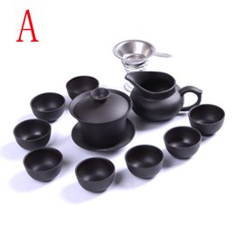Wholesale Yixing Purple Sand Teapot - Yixing Purple sand teaset 11pcs black ceramic kung fu drinks, handmade Purple sand teapot teacup, business office good suit