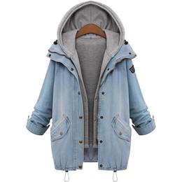 Wholesale Denim Drawstring Jacket Women - 2016 Blue Hooded Drawstring Boyfriend Trends Jean Swish Pockets Two Piece Outerwear Women Denim Buttons Coat Jackets AWC0003