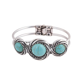 Wholesale vintage silver watch chain - Wholesale- Vintage Jewelry Tibetan Silver Carved Round Turquoise Bangle Gift For Women Bracelet Watch Band pulsera brazalete Accessory