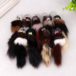 """Wholesale Pink Carabiner - FBA Drop Shipping Lovely 3D Mouse Squirrel Charm Pom Pom Car Keychain Handbag Key Ring Christmas Gift 7.87""""*1.97"""" C97Q"""