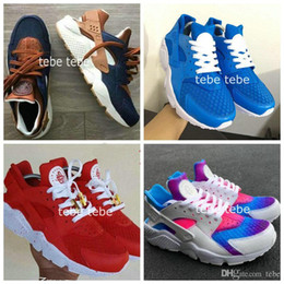 Wholesale Id Shoes - Air Huarache ID Custom Breathe Running Shoes For Men Women Hurache Mens navy blue tan Huaraches Multicolor Huraches Sports Harache Sneakers