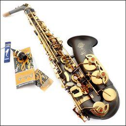 Wholesale Selmer 54 - DHL Free Shipping New High quality France Selmer   54 E Alto Saxophone instrument matt black Gold Key
