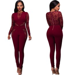Wholesale Sexy Lady Women Long Sleeves - Women Sexy Long Sleeve Lace Patchwork Bodycon Rompers Womens Jumpsuits Bandage Full Length One Piece Pants Jumpsuit For Ladies