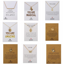 Wholesale family christmas cards - 2017 New Dogeared Necklace With Card LOVE WISH LUCK Family CAT LIFE Pendant Noble and Delicate Silver Choker Valentine Day Christmas Gift