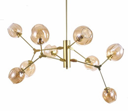 Wholesale Pendant Lamp Shades - New design modern Glass Shade Retro Lindsey adelman Pendant Lamp Black Gold Bar Stair Dining Room Lamp Fixtures LLFA