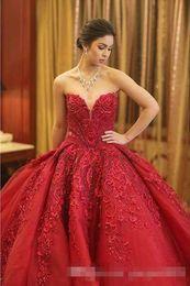 Wholesale Dresses Civil Wedding - Michael Cinco Luxury Ball Gown Red Wedding Dresses Lace Top quality Beaded Sweetheart Sweep Train Gothic Wedding Dress Civil vestido de 2017