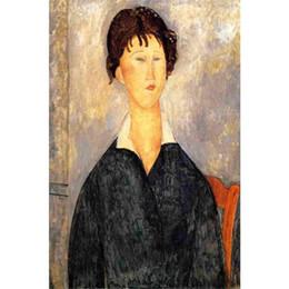 2020 портреты в спальне Ручная работа картина маслом Амедео Модильяни портрет женщины с белым воротником женщина абстрактное искусство для спальни Декор дешево портреты в спальне