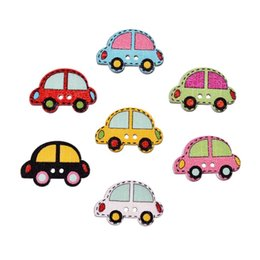 Wholesale Sewing Buttons Kids - New 25x20mm 200Pcs Wood Sewing Painting Decoration Buttons Scrapbooking Car Pattern Mixed At Random 2 Holes For Kids designer sewing buttons
