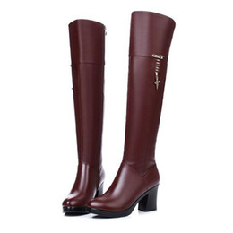 Wholesale Ladies Black Thigh High Boots - Women luxury brand chunky tall boots ladies thick fur leather knee high boots warm winter Martin boots outdoor sneakers