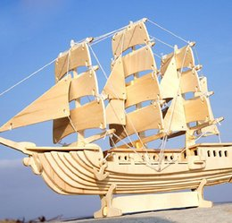 Wholesale Toy Military Boats - Wholesale- Wooden European Sailing Boat Ship 3D Puzzle Educational Scale Model & Building DIY Toys