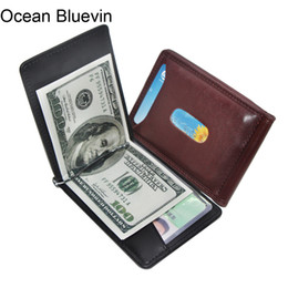 Wholesale Foreign Money - Ocean Bluevin Foreign Portable Men's Money Clips Wallet Black Brown Quality Fashion Soft 2 Folds ID Credit Card Bit Clip Cateira Wallets