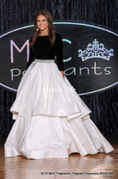 miss usa pageant gowns Promo Codes - Miss USA 2017 Pageant Evening Gowns Ball Gown Black and White Beaded Puffy Satin Long Sleeves 2K17 Prom Dresses Custom Made Sweep Train