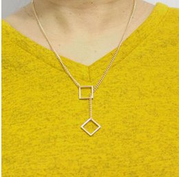 Wholesale Double Chain Circle Gold Necklace - Fashion Popular Jewelry Necklaces Gold Tone Geometry Double Square Pendant Short Necklaces Clavicle chain Necklace x745   1