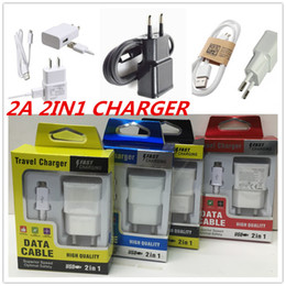 Wholesale Wholesale Iphone Travel Kits - 2A Wall Charger Home Travel Adpater Micro USB Kits 2 in 1 US EU Version Plug Charger+USB Cable Charger For Galaxy S4 S6 N7100 Retail Package