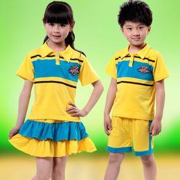 Wholesale Boys Girls Uniforms - Children's clothing sportswear children's short-sleeved girls t-shirt short skirts boys shorts casual wear kindergarten class uniforms