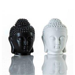 Wholesale Oil Candle Holders - Thai Buddha Head Essential Oil Burner Ceramic Aroma Diffuser Buddha Candle Holder Zen Ornament Home Aromatherapy Black White
