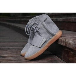 Wholesale Football Boots Sales - Hot Sale Boost 750 Glow In The Dark Mens Running Shoes Discount Kanye West Boosts 750 Boosts Triple Black Light Grey Chocolate Sneakers