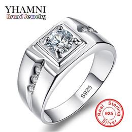 Wholesale Men Ring Silver Cz - YHAMNI Classic Men Ring Set 6MM 1 Carat CZ Diamond Engagement Ring 925 Solid Silver Wedding Ring for Men Jewelry Wholesale RJ29N