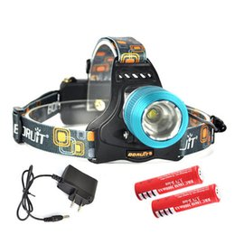 Wholesale Headlight Brands - 100% Brand New Boruit Headlamp CREE XM-L T6 LED Headlight 2000LM 3-Mode Outdoor Hiking Camping Fishing light + AC Charger+2 *18650 battery