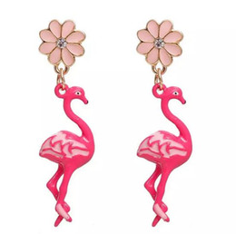 Wholesale Enamel Color Earring - Free Shipping! Earrings Gold Color Pink Flamingo Flower Clear Rhinestone Enamel 47*11mm Post  Wire Size: (21 gauge), 1 Pair christmas