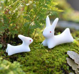 Wholesale Small Figurines - 10pcs ( 5 x large + 5 x small ) Rabbit terrarium figurines miniature toy animals bonsai decoracion jardin de hadas gnomes