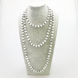 Wholesale Wholesale Long Beaded Necklaces - ST0334 Hot Sale 60 inches Women Knotted Necklace Fashion Natural White Howlite Necklace Yoga Long Necklace for Woman