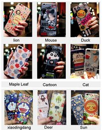 Wholesale Embossment Case Iphone - Painted Cartoon Case Back Cover Relief Embossment Soft TPU Shell for iPhone 8 7 6S 6 Plus