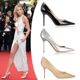 Wholesale Silver Party Shoes - 2017 New elegant Metallic Silver Red Nude Black Stiletto High Heels Women Pumps Party Shoes Woman hight heels is 9.5CM